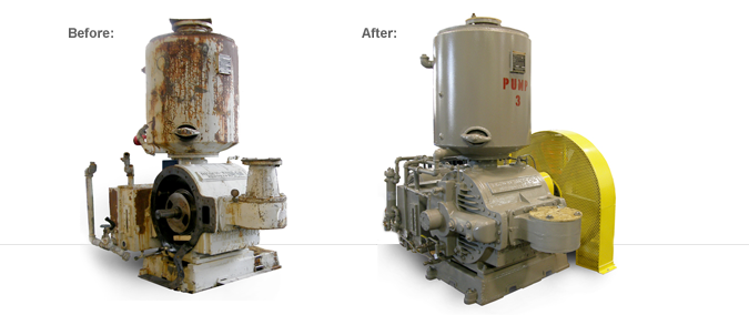 Before and After PSI Vacuum Pump Repair